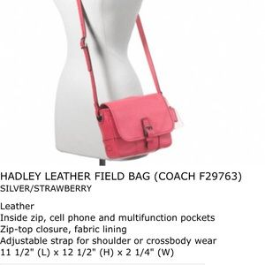 BRAND NEW WITH TAGS Coach Hadley Leather Field Bag